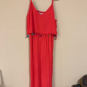 NWT Pink maxi dress with tassels